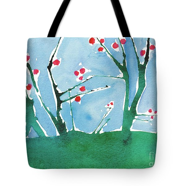 Red Berry Flowers Tote Bag