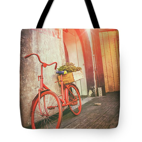 Red Bicycle In Riga Latvia  Tote Bag
