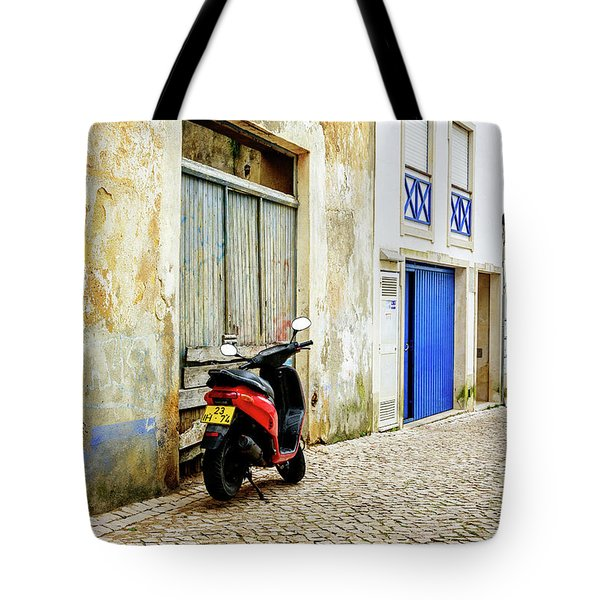Tote Bag featuring the photograph Red Bike by Marion McCristall