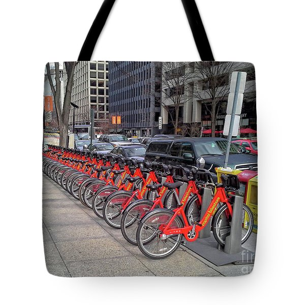 Red Bikes Tote Bag