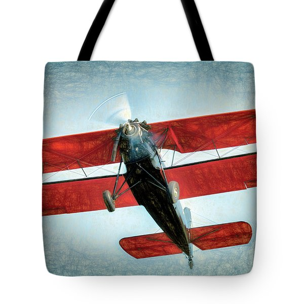 Tote Bag featuring the photograph Red Biplane by James Barber