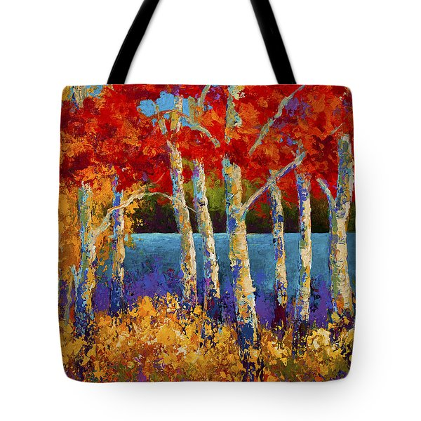 Red Birches Tote Bag