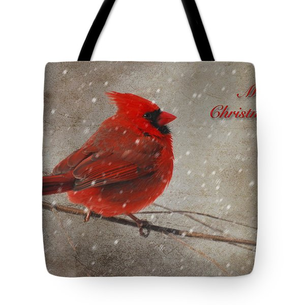 Red Bird In Snow Christmas Card Tote Bag