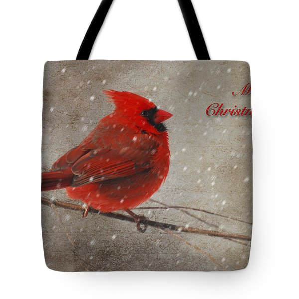 Red Bird In Snow Christmas Card Tote Bag by Lois Bryan