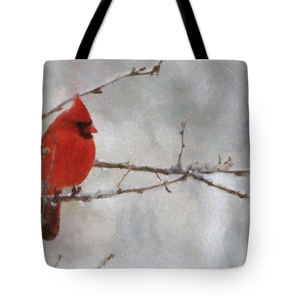 Red Bird Of Winter Tote Bag