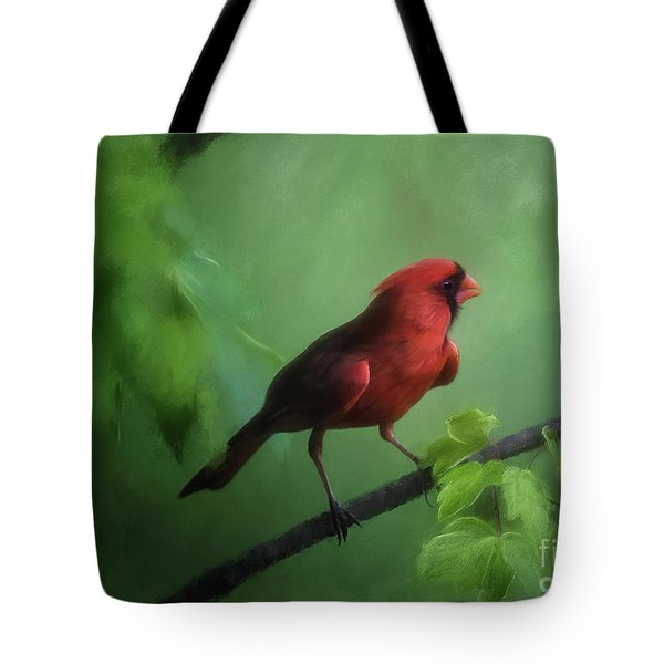 Red Bird On A Hot Day Tote Bag by Lois Bryan
