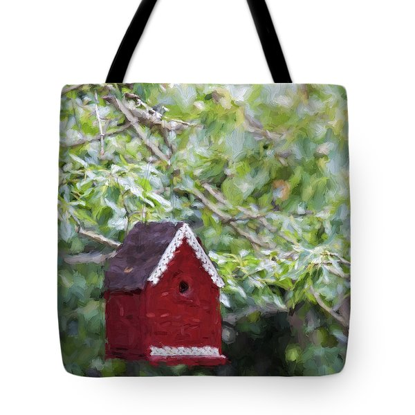 Red Birdhouse Painterly Effect Tote Bag