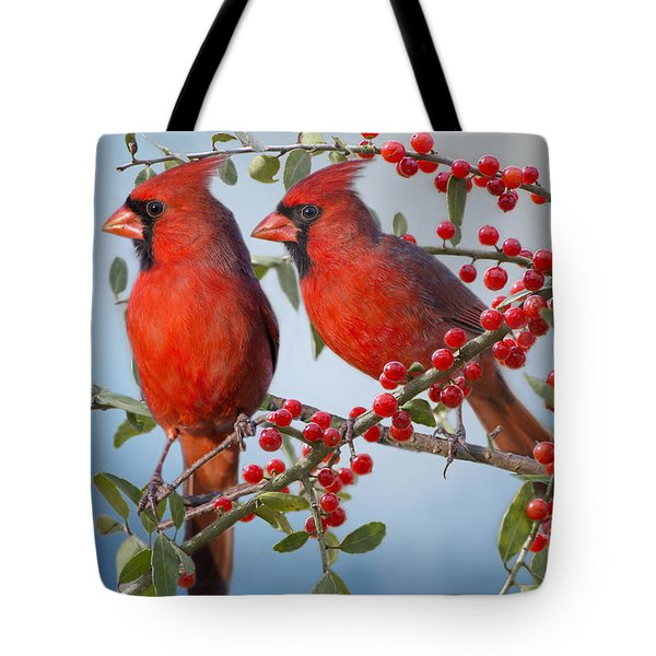 Red Birds In Red Berries Tote Bag