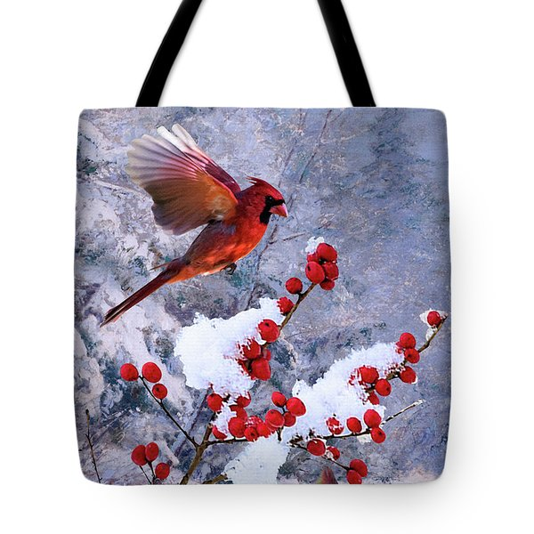 Red Birds Of Christmas Tote Bag
