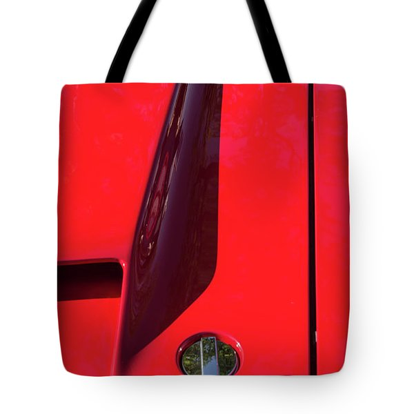 Tote Bag featuring the photograph Red Black And Shapes On Hot Rod Hood by Gary Slawsky