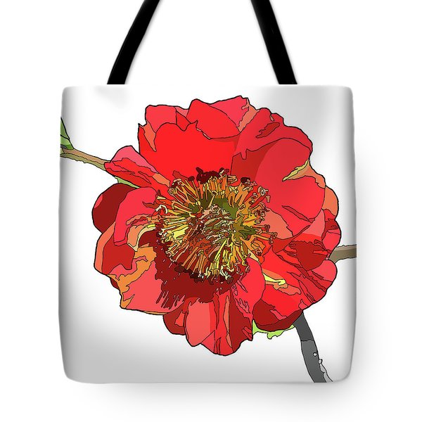 Red Blossom Tote Bag by Jamie Downs