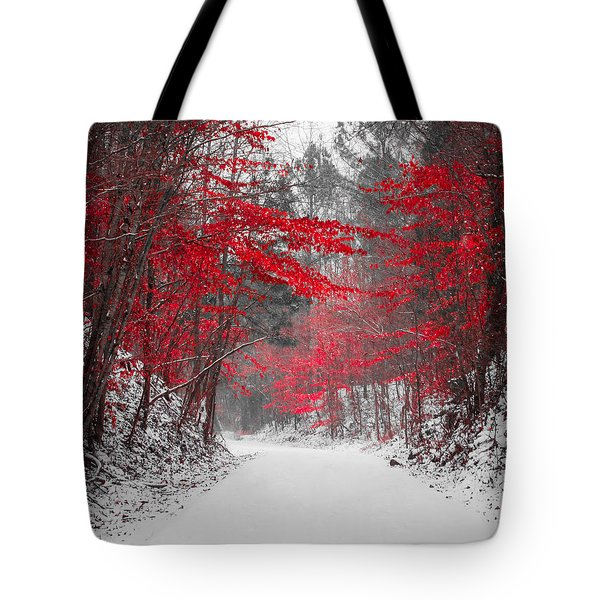 Red Blossoms Horizontal Tote Bag