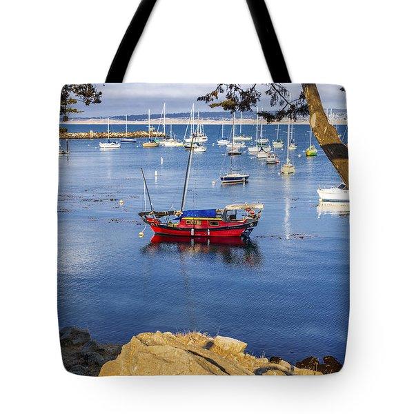 Red Boat In Monterey Tote Bag