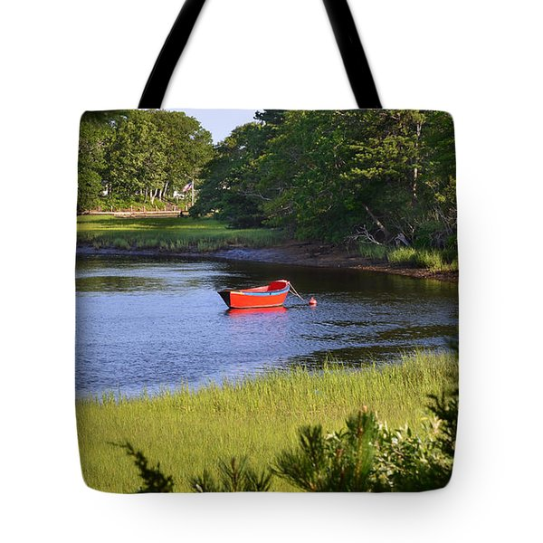 Red Boat On The Herring River Tote Bag
