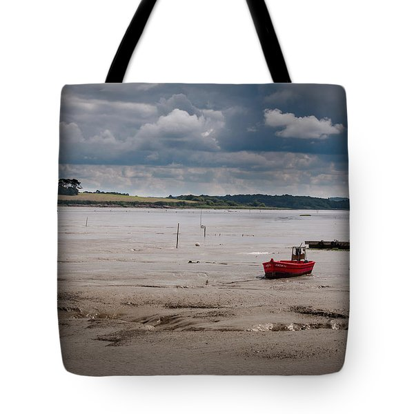 Red Boat On The Mud Tote Bag
