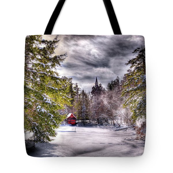 Tote Bag featuring the photograph Red Boathouse After The Storm by David Patterson
