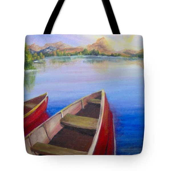 Tote Bag featuring the painting Red Boats At Sunrise by Saundra Johnson