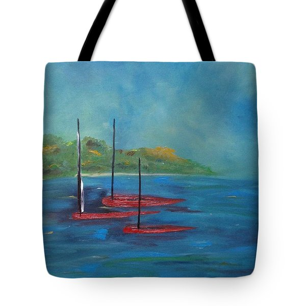 Tote Bag featuring the painting Red Boats by Judith Rhue