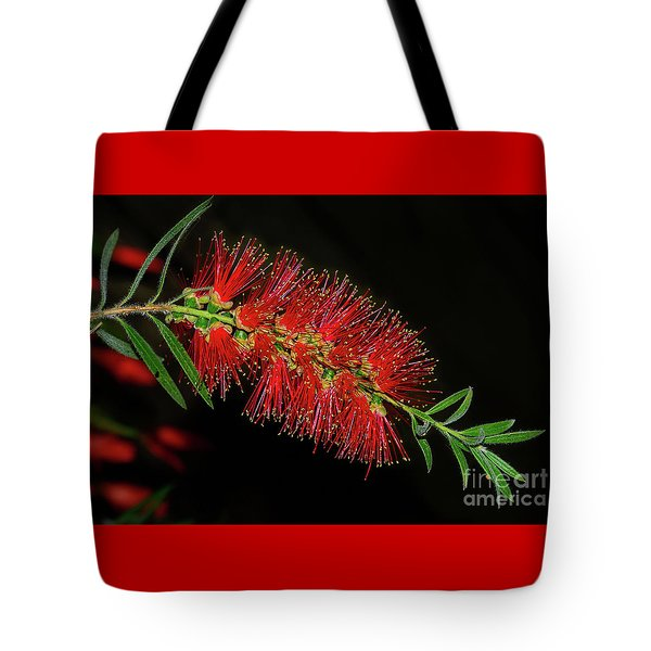 Tote Bag featuring the photograph Red Bottlebrush By Kaye Menner by Kaye Menner