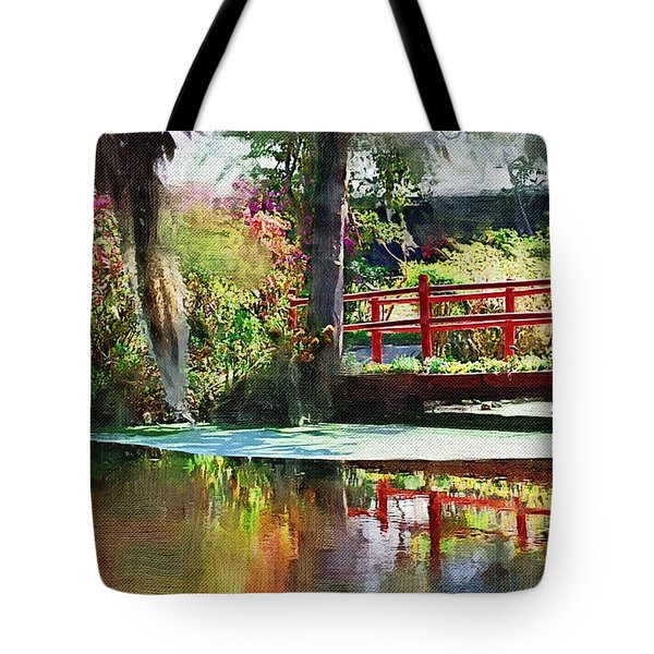 Tote Bag featuring the photograph Red Bridge by Donna Bentley
