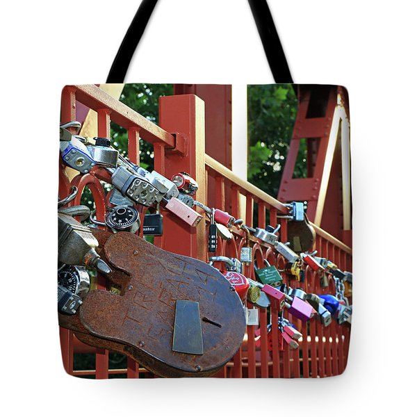 Tote Bag featuring the photograph Red Bridge Locks by Christopher McKenzie
