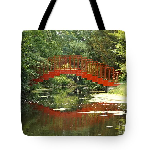 Red Bridge Reflection Tote Bag by Erick Schmidt