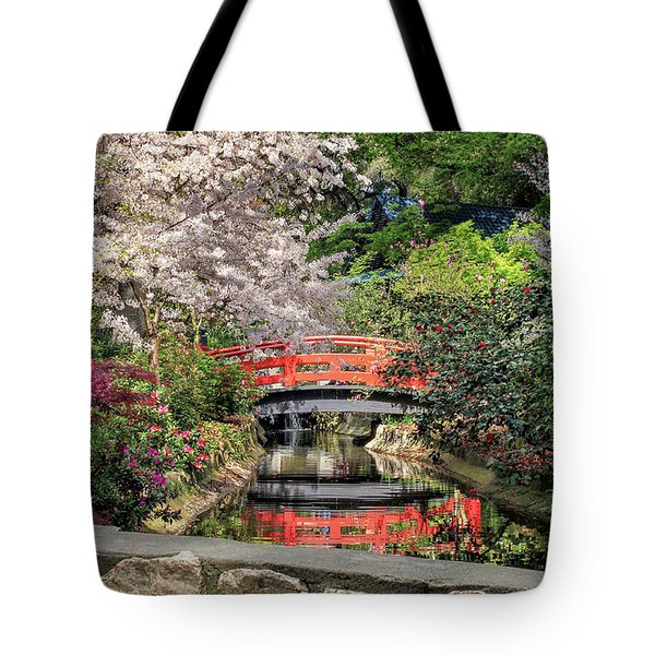 Red Bridge Spring Reflection Tote Bag by James Eddy