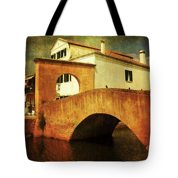 Tote Bag featuring the photograph Red Bridge With Storm Cloud by Anne Kotan