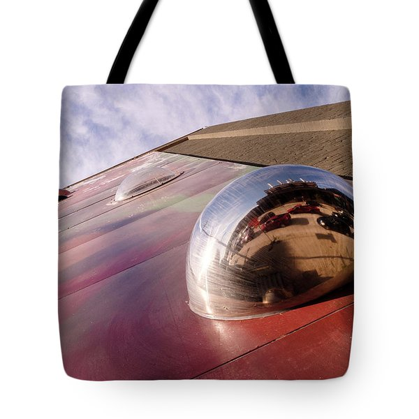 Red Bubble On A Downtown Wall Outside With Reds And Sky In Grand Rapids Michigan Tote Bag