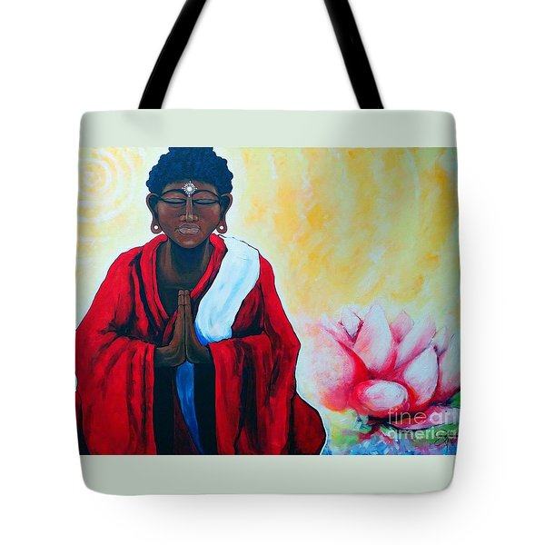 Red Buddha Lotus Tote Bag by Jackie Carpenter