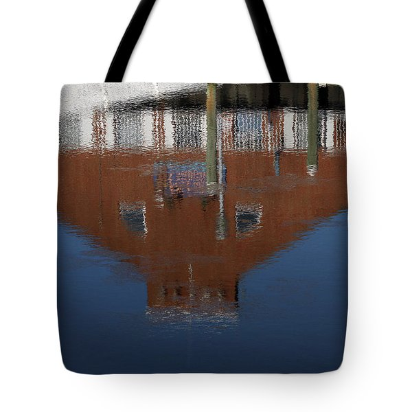 Red Building Reflection Tote Bag by Karol Livote