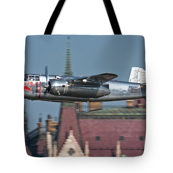 Red Bull North American B-25j Mitchell Tote Bag by Anton Balakchiev