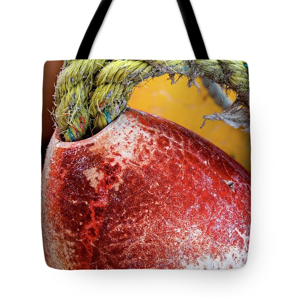 Tote Bag featuring the photograph Red Buoy Closeup by Carol Leigh