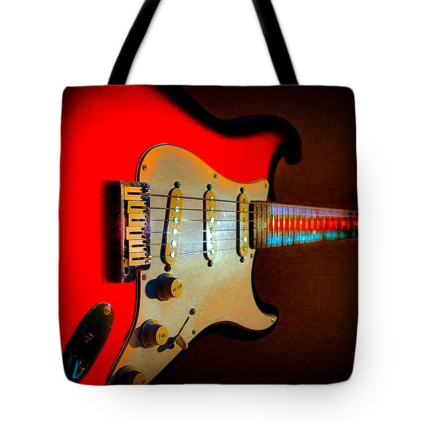Red Burst Stratocaster Glow Neck Series Tote Bag