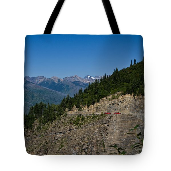 Red Buses, Glacier National Park Tote Bag