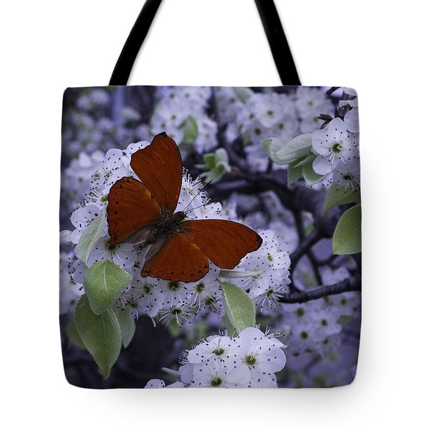Red Butterfly On Cherry Blossoms Tote Bag