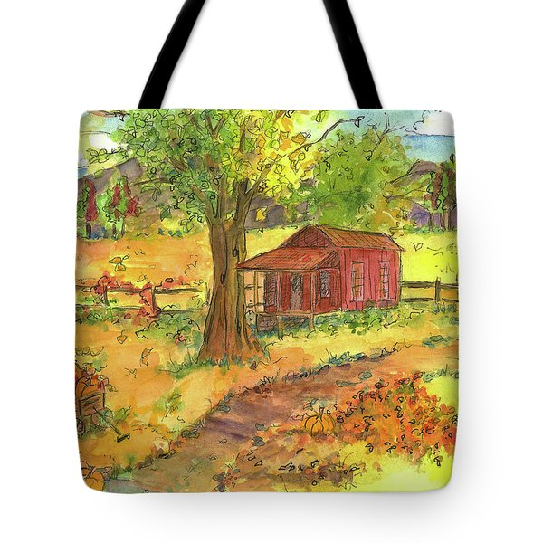 Tote Bag featuring the painting Red Cabin In Autumn  by Cathie Richardson