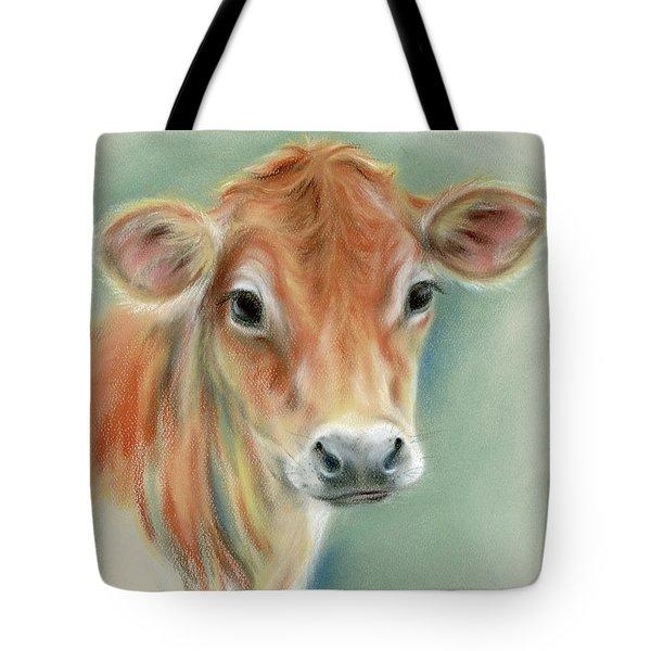 Red Calf Portrait Tote Bag