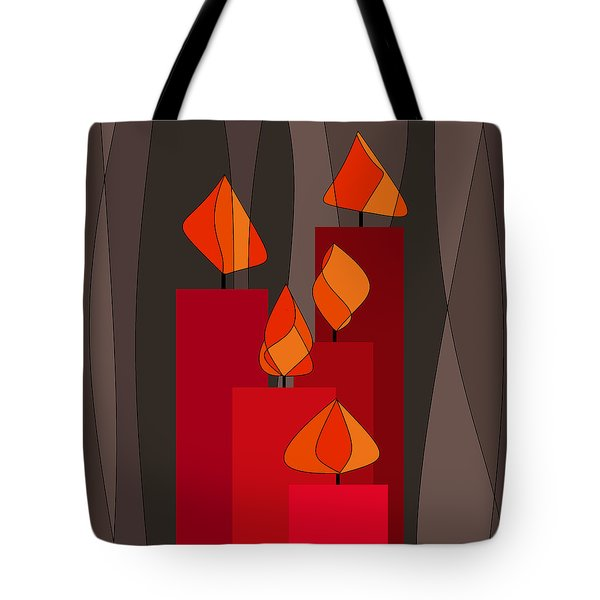 Red Candles - Square Tote Bag