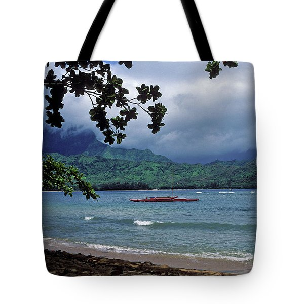 Red Canoe On Hanalei Bay Tote Bag by Kathy Yates