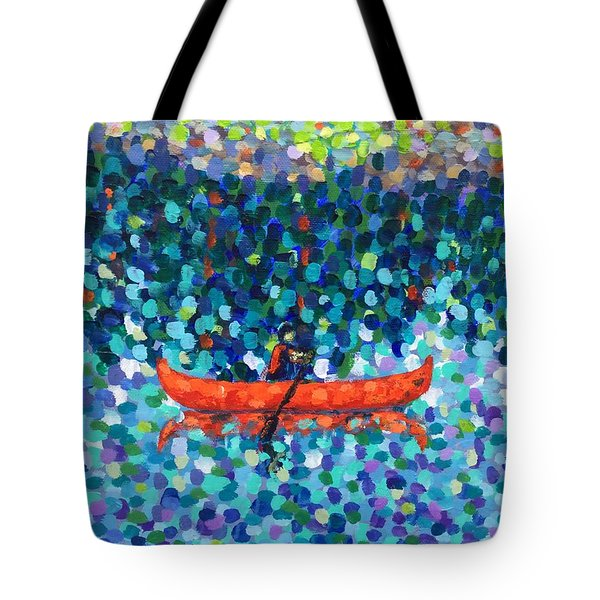 Tote Bag featuring the painting Red Canoe On The Lake by Cristina Stefan