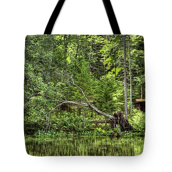 Tote Bag featuring the photograph Red Canoe Panorama by David Patterson
