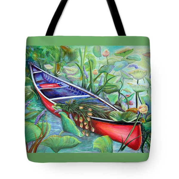 Tote Bag featuring the painting Red Canoe by Patricia Piffath