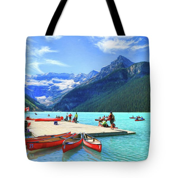 Tote Bag featuring the photograph Red Canoes  Of Lake Louise - Banff National Park Canada by Ola Allen