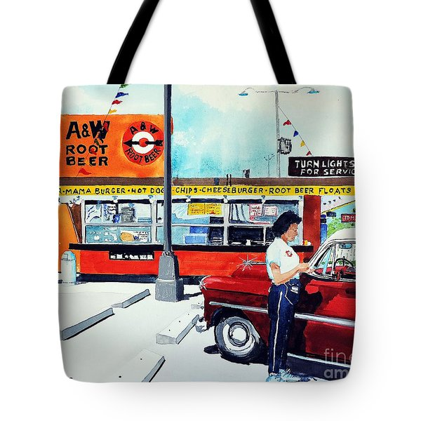 Red Car At The A And W Tote Bag by Tom Riggs