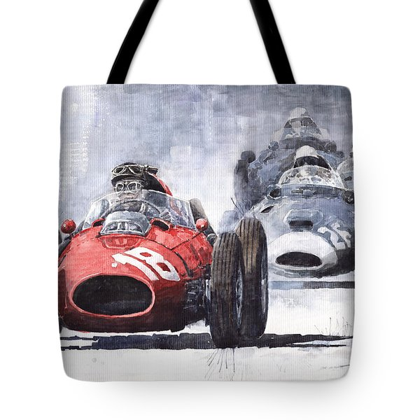 Red Car Ferrari D426 1958 Monza Phill Hill Tote Bag