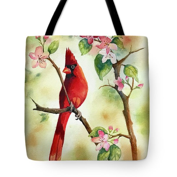 Red Cardinal And Blossoms Tote Bag