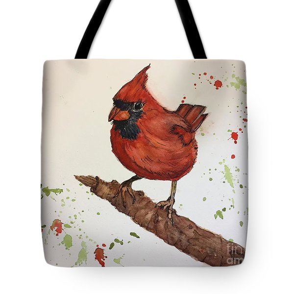 Red Cardinal Tote Bag by Lucia Grilletto