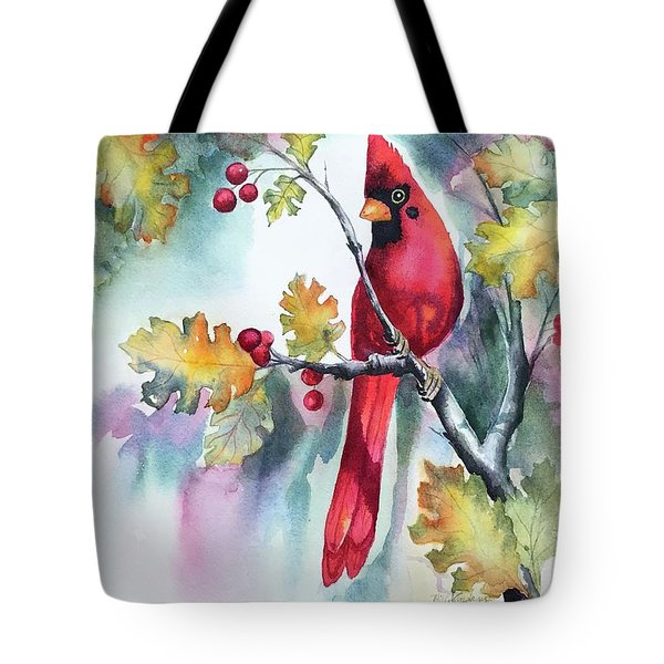 Red Cardinal With Berries Tote Bag