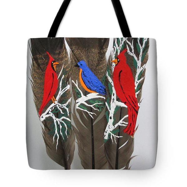 Red Cardinals On Turkey Feathers Tote Bag by Jeffrey Koss